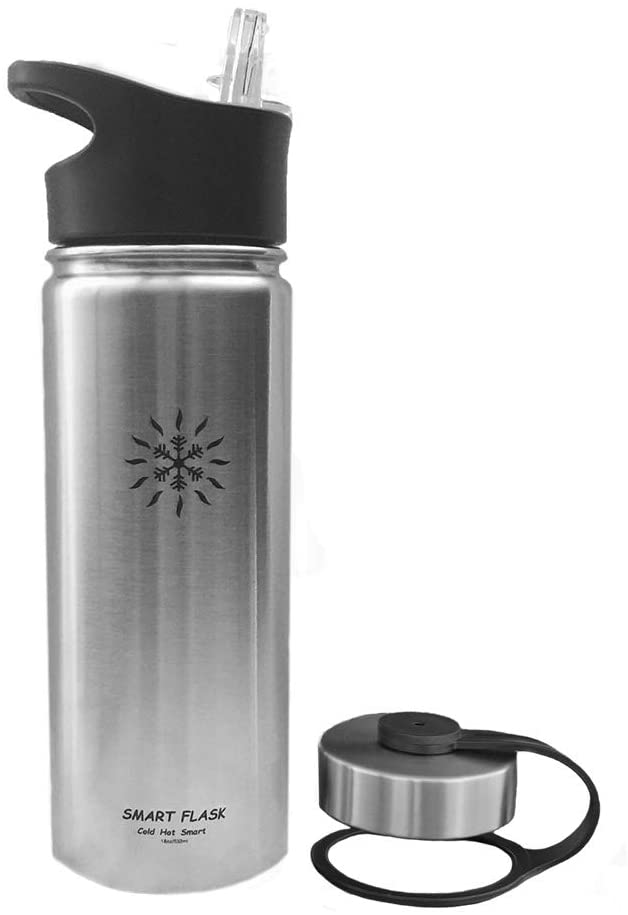 Smart Flask 18oz Stainless Steel, Wide Mouth, Insulated Water Bottle with Solid, Hard, one Piece Biteproof Straw Lid