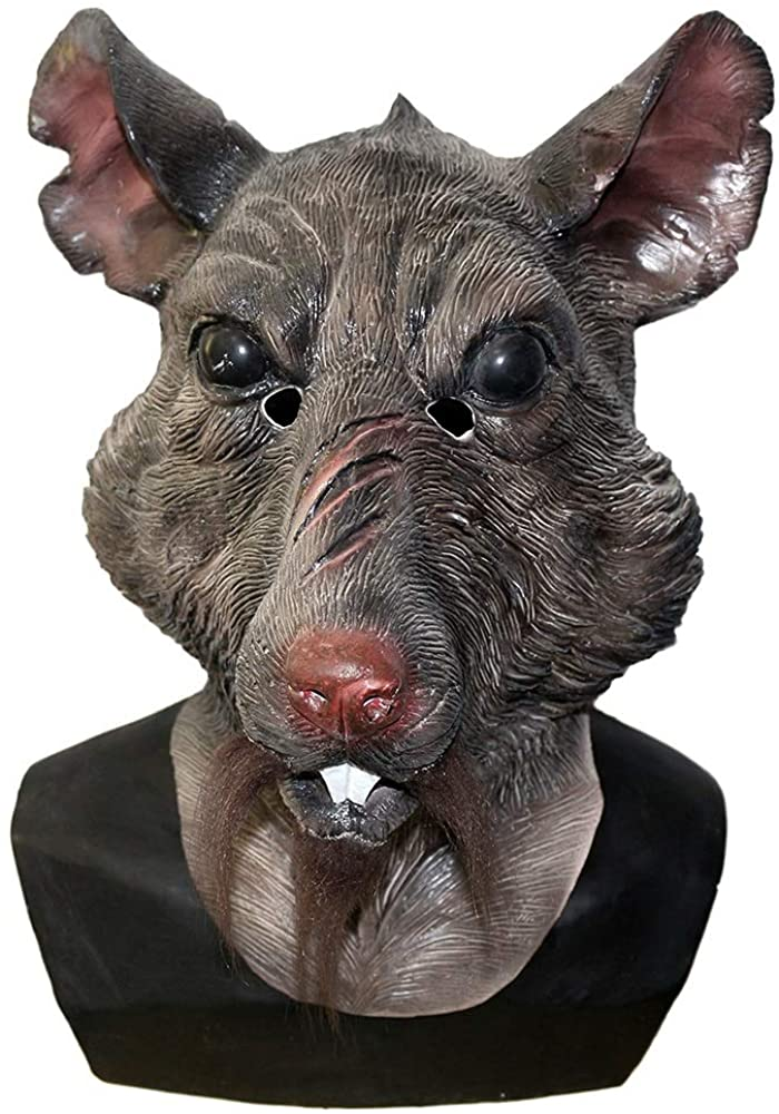 Adult New Mutant Rat Head Animal Costume Face Splinter Halloween Mouse Mask Brown