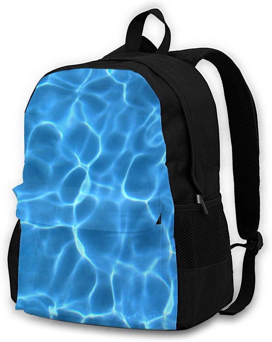 Aqua Blue Swimming Pool Pattern Large Backpack Personalized Laptop Ipad Tablet Travel School Bag with Multiple Pockets for Men Women College