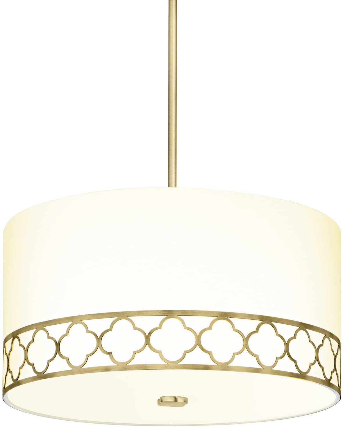 Large Fabric Linen Drum Chandelier - 18 Inch 4-Light Ceiling Fixture with Scalloped Brass Metal Design and Glass Diffuser