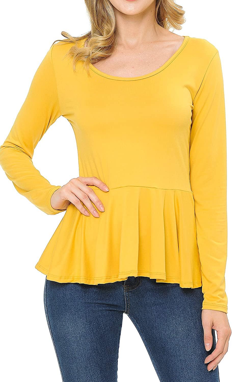 SSOULM Women's Long Sleeve Stretchy Knit Ruffle Hem Peplum Blouse Top with Plus Size