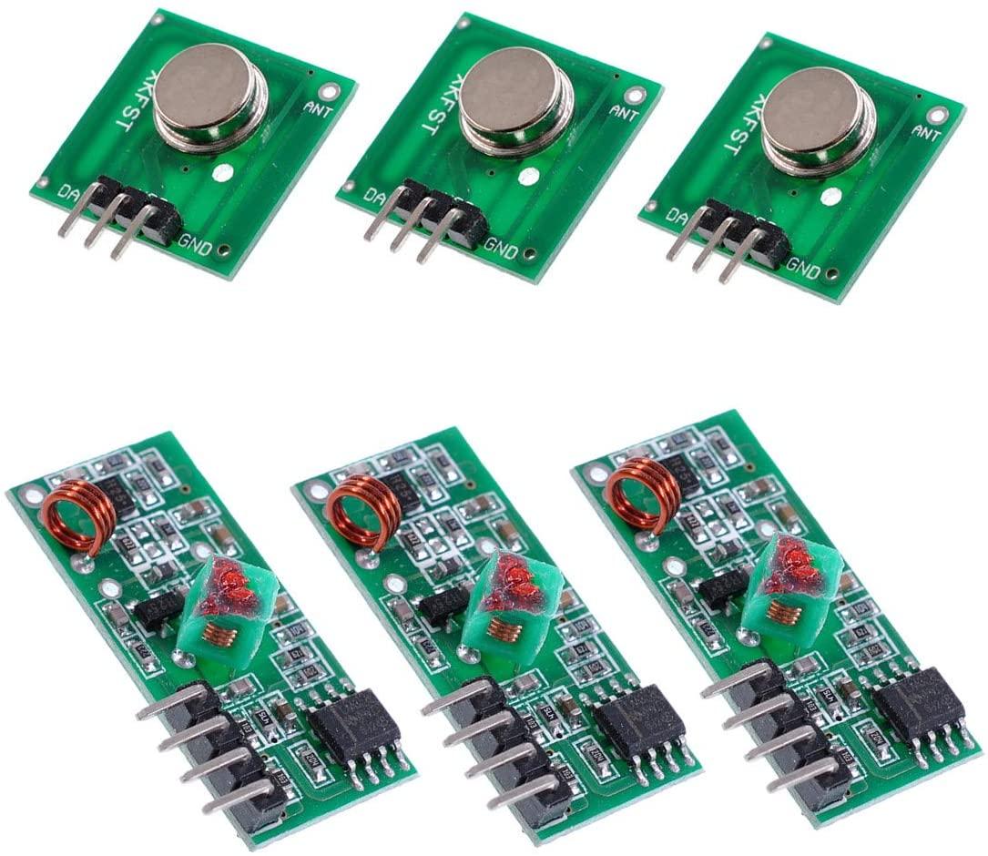 Oiyagai 3pcs 315MHz RF Wireless Transmitter and Receiver Module Kit for Arduino/Arm/McU/Raspberry pi