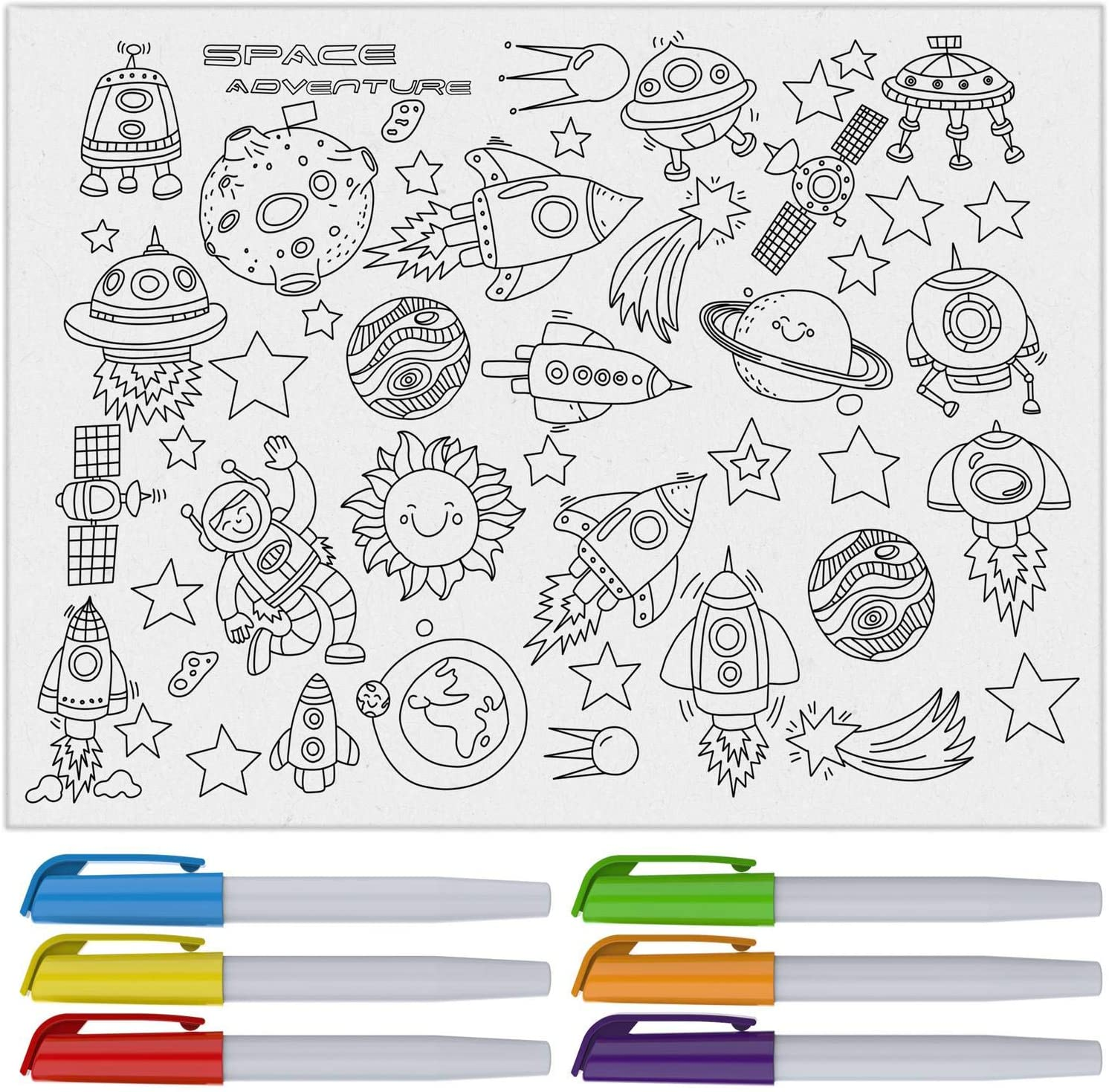"""Reusable Silicone Coloring Mat for Kids, 16"""" x 12"""" Dry Erase Tablecloth Paper – Kit Includes Washable Markers – Outer Space Astronaut Adventure Theme with Planets & Spacemen"""