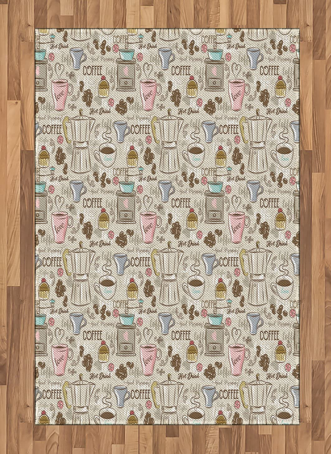 Ambesonne Modern Area Rug, Coffee Time Vintage Espresso Machine Cupcakes Beans Design, Flat Woven Accent Rug for Living Room Bedroom Dining Room, 4' X 5.7', Beige Pale Pink and Umber