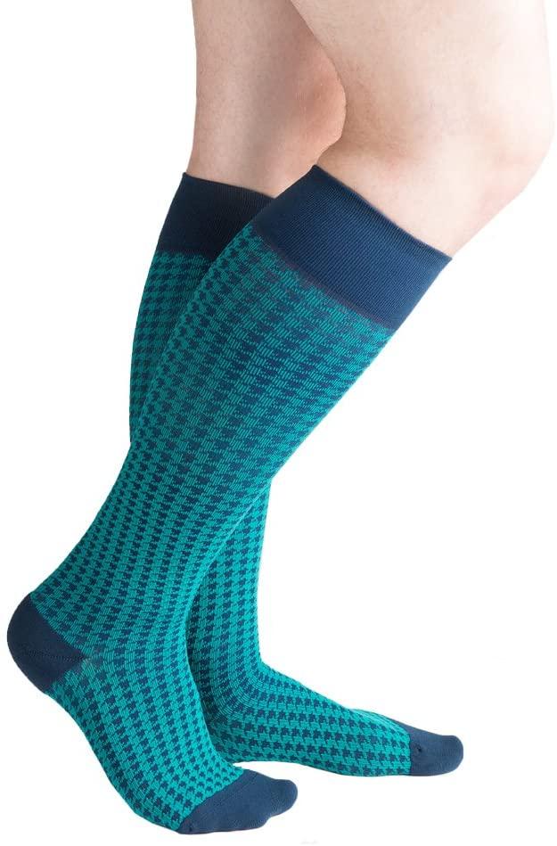VenaCouture Mens 15-20 mmHg Compression Socks, Bold Houndstooth Pattern