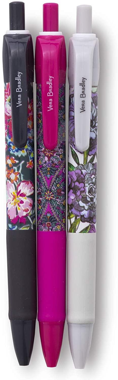 Vera Bradley Black Ink Click Pen Set of 3, Spring Multi Medley