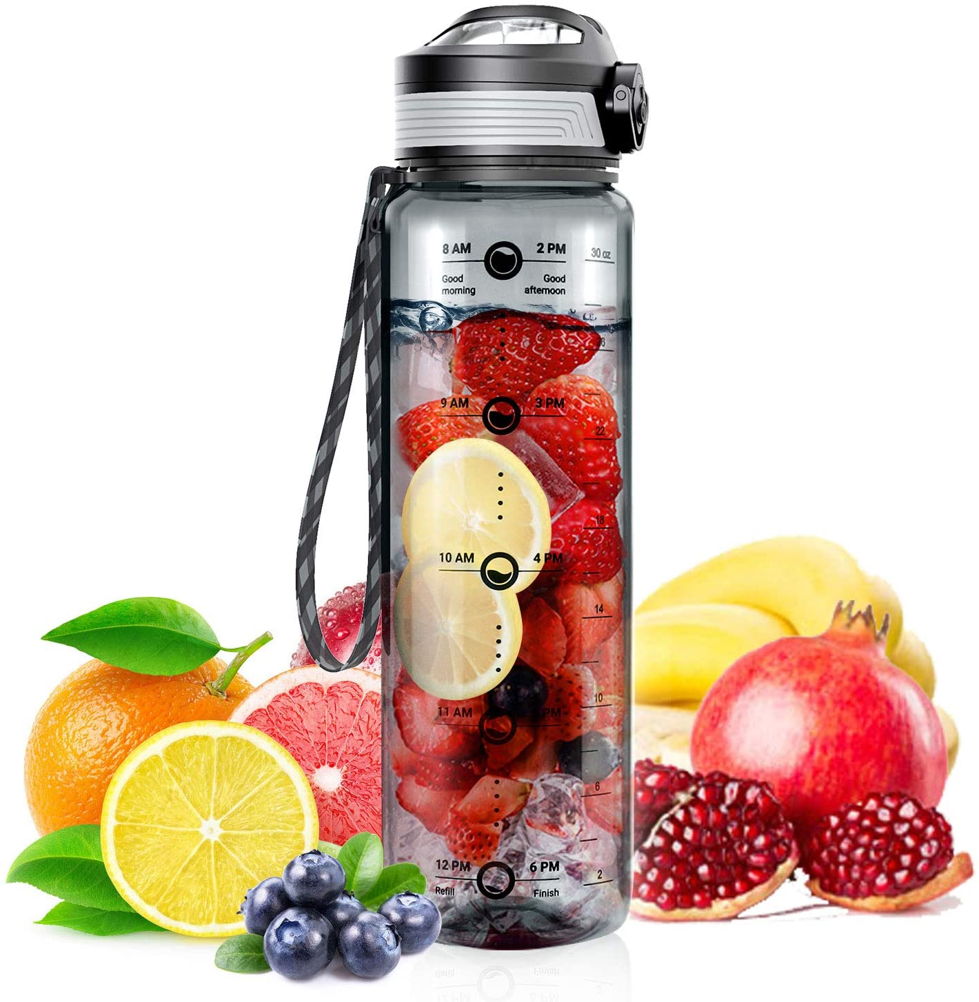 STOON Water Bottle with Time Marker, 32oz BPA Free Sports Fruit Infuser Water Bottle - Fast Flow, Removable Strainer, Leak-Proof -1L Reusable Drinking Bottle for Office, Gym, Travel, Fitness and More