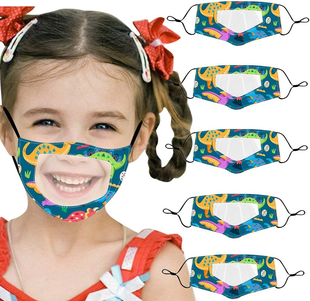 Mallocat 5PC Kids Face_Mask with Clear Window Visible Expression for Death and Hard of Hearing Cartoon Dinosaur Print Outdoor Reusable Washable Cotton Mouth Bandanas Shields Protection