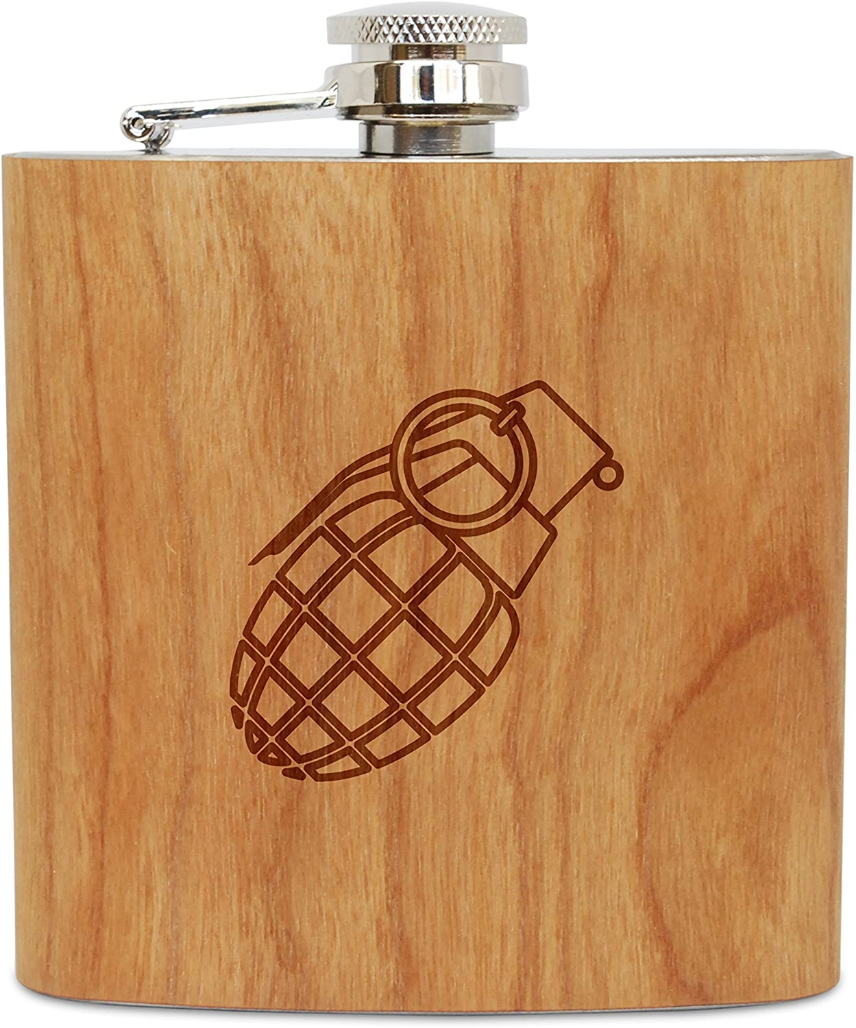WOODEN ACCESSORIES COMPANY Cherry Wood Flask With Stainless Steel Body - Laser Engraved Flask With Grenade Design - 6 Oz Wood Hip Flask Handmade In USA