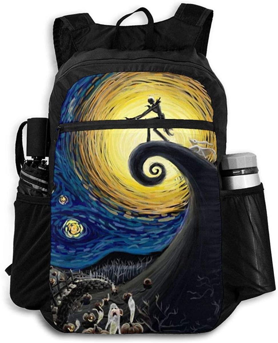 ULQUIEOR Phish Circles Lightweight Foldable Backpack Travel Daypack Waterproof Laptop Packbag Camping Hiking Bag