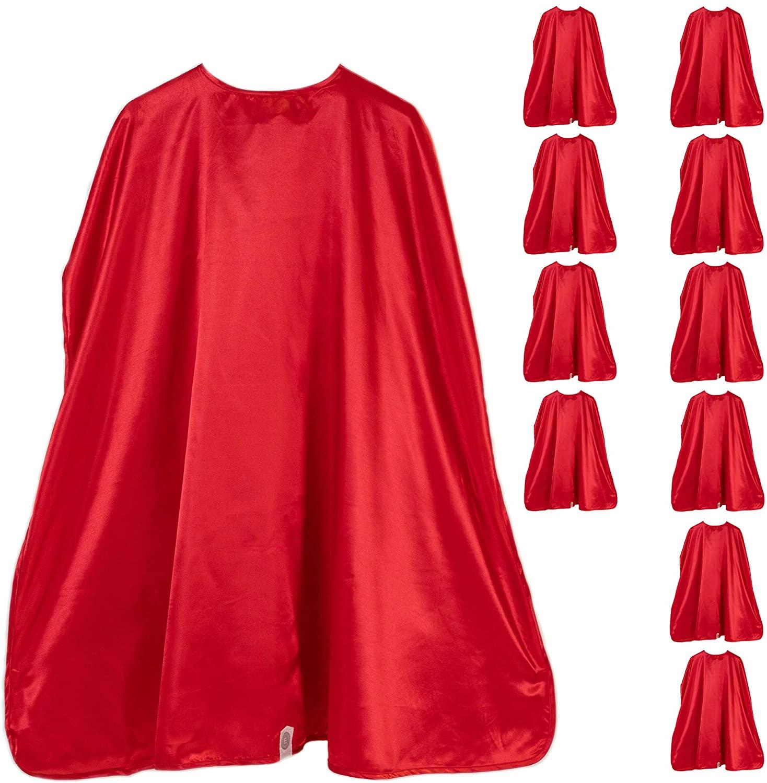 Everfan Adult Superhero Cape Party Pack | Set of 10 Polyester Satin Capes | Bulk Wholesale Superhero Capes