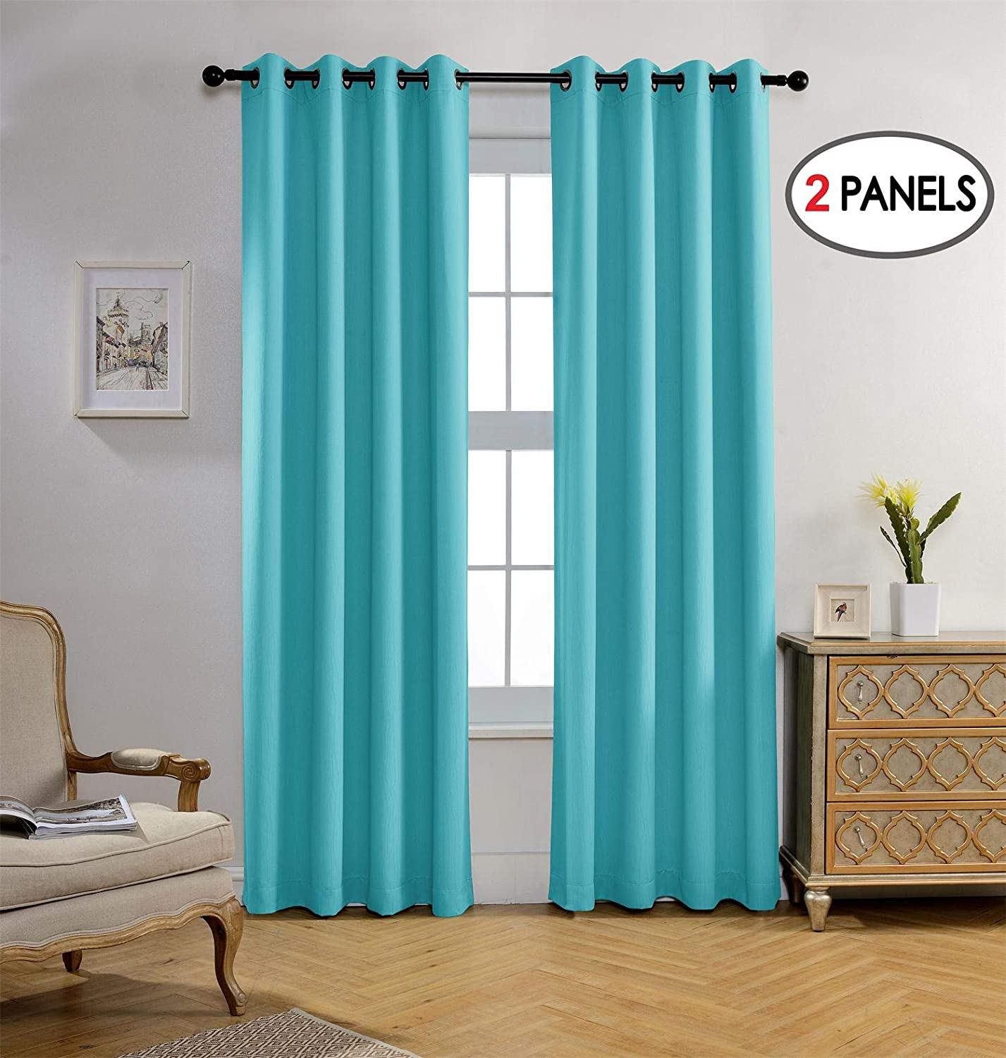 MIUCO Room Darkening Curtains Textured Grommet Thermal Insulated Blackout Curtains for Bedroom Set of 2 52x95 Inch Turquoise