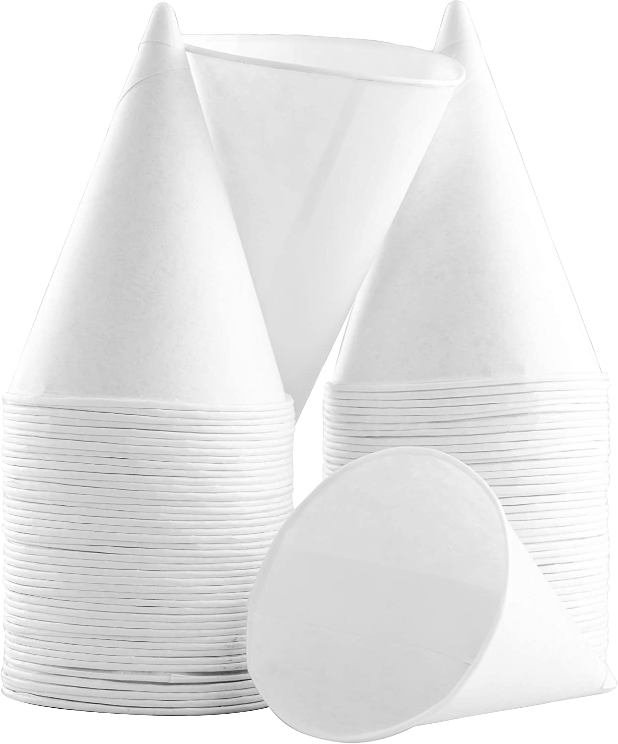 Eco-Friendly Small White Paper Cone Cups 50Pk. Wax Free Dispenser Cups for Shaved Ice, Office Water Coolers, Sports Teams or Fundraisers. Disposable Cone Craft Funnels for Oil or Protein Powder Drinks