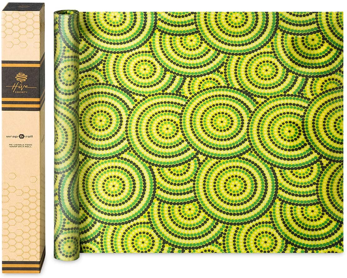 Beeswax Wrap Roll X Large 80 x 16 inch, Organic Reusable Beeswax Food Wraps, Plastic Free Eco Friendly Alternative to Cling Wrap, Sustainable Food Storage, Washable Biodegradable Cheese Paper (Green)