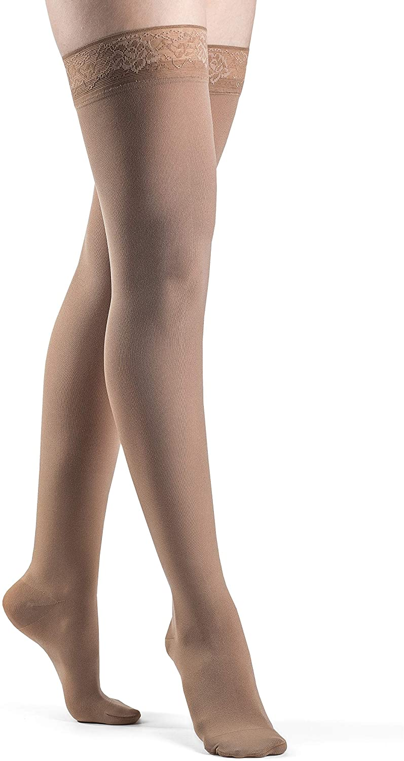 SIGVARIS Women's Style Soft Opaque 840 Closed Toe Thigh-Highs w/Grip Top 15-20mmHg