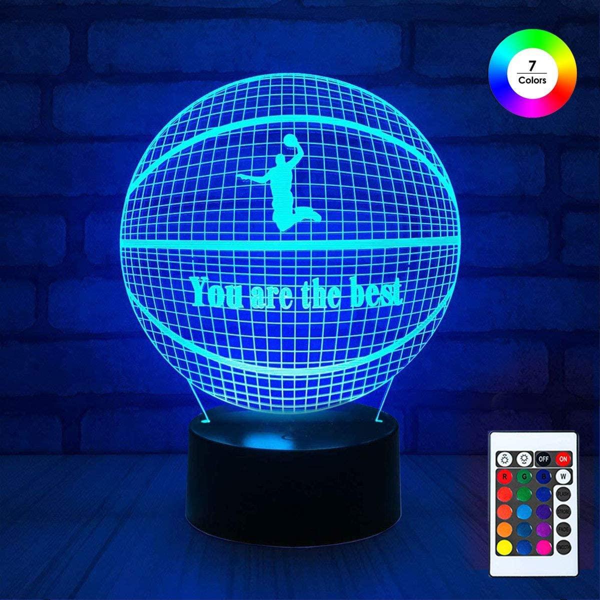 3D Remote Night Stand Light EpicGadget Optical Illusion Visualization LED Night Light Lamp 7 Colors Changing Remote Control Night Light Lamp Stand (Basketball)