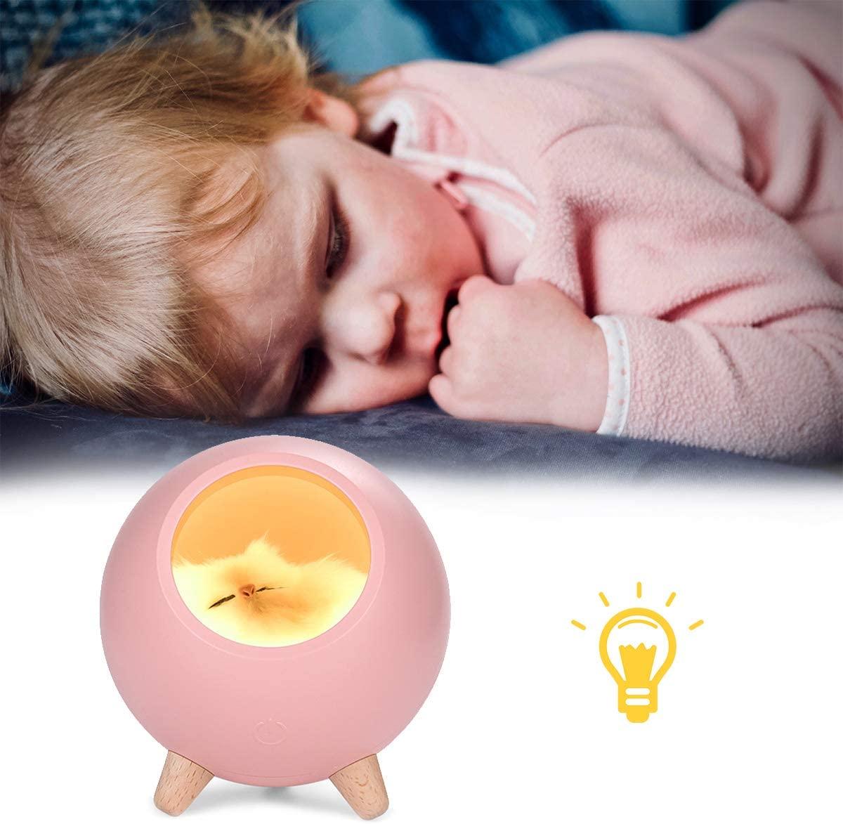 Wallfire Cute Sleeping Cat Night Light Bedroom Light Baby Sleeping Light USB Charging Stepless Dimming Table Bedside Light for Baby/Children/Boy/Girl - Pink