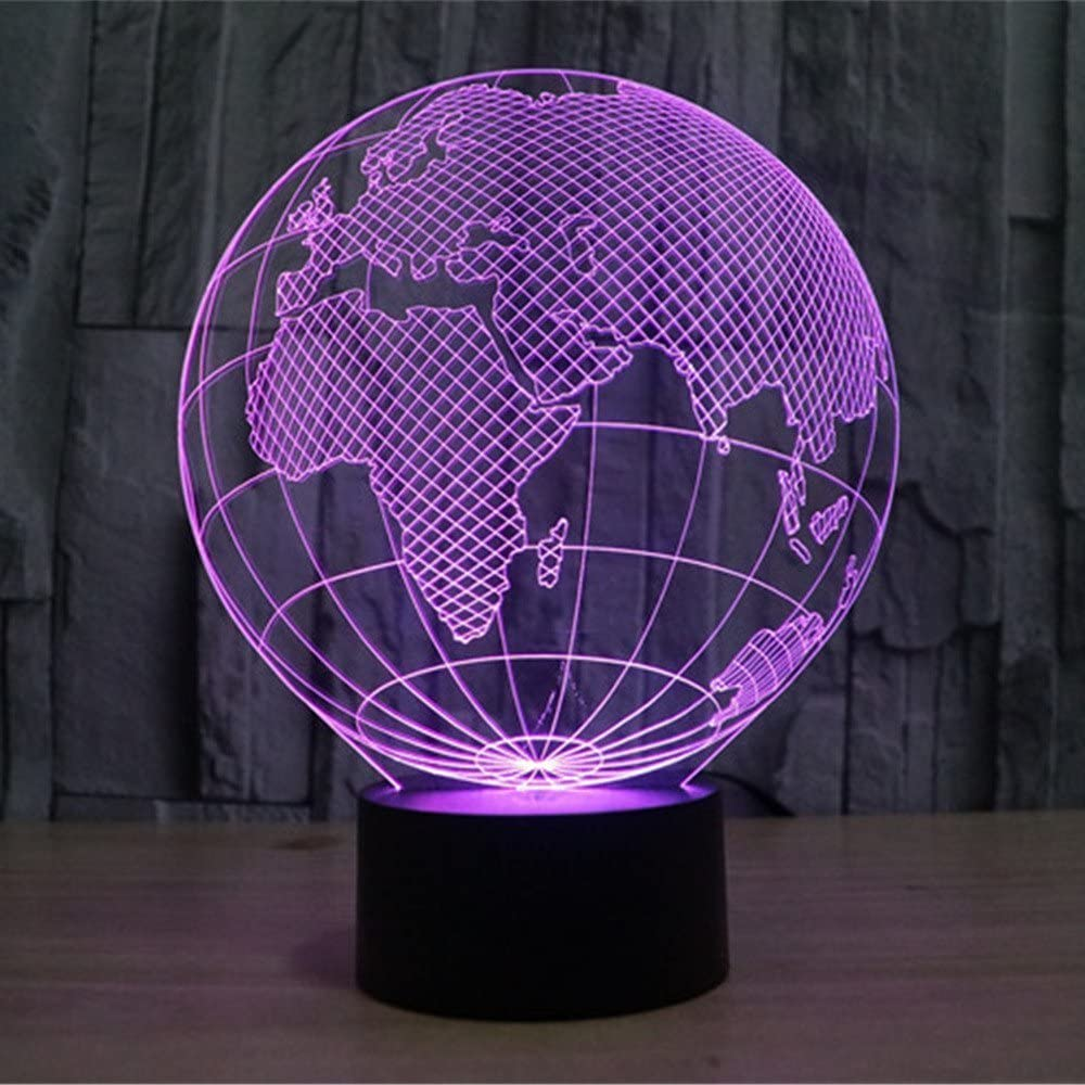 Optical Illusion 3D Earth Globe Night Light 7 Colors Changing USB Power Touch Switch Decor Lamp LED Table Desk Lamp Brithday Children Kids Christmas Xmas Gift …