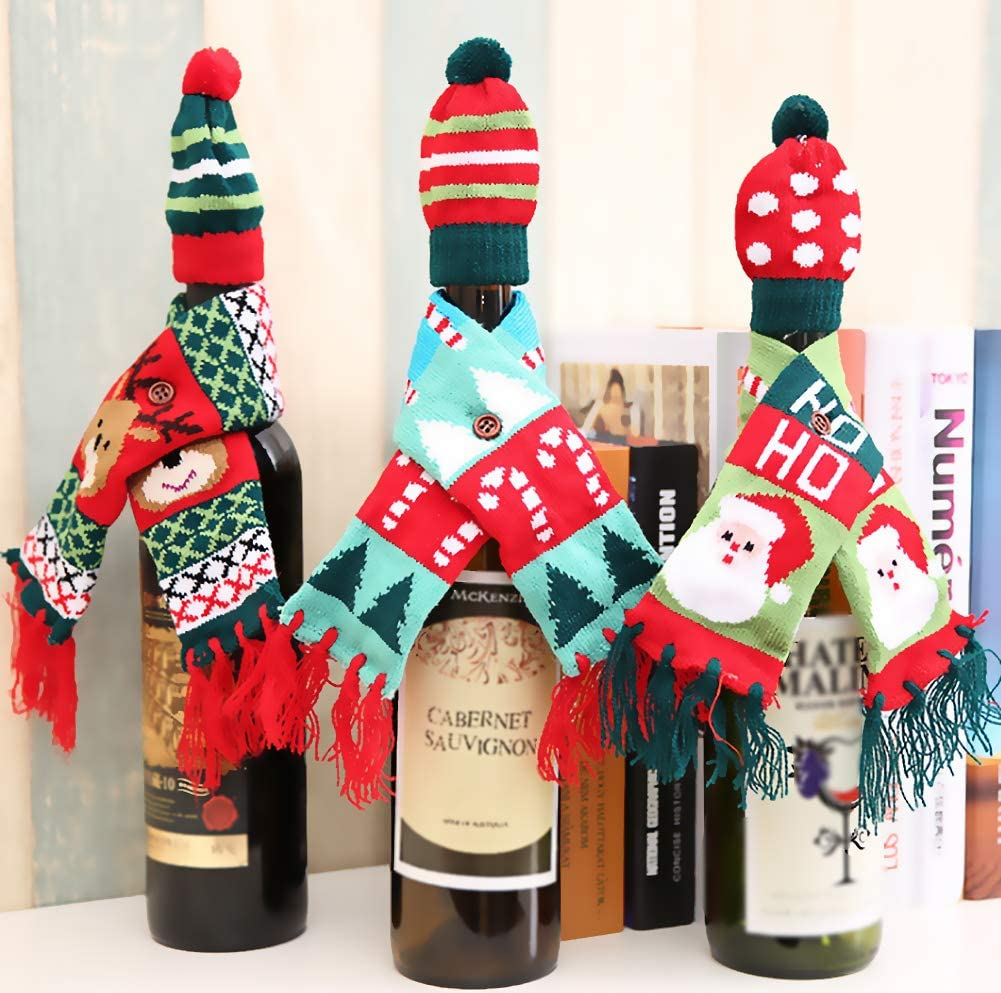 Kayueti 3PCS Christmas Wine Bottle Bags,Reusable Knitted Scarf Wine Set with Tree Elk Wine Bottle Decor Bag Covers for Xmas Dinner Wine Tasting Party Table New Year Decor