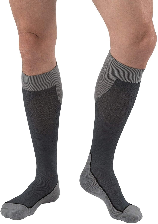 JOBST Sport Knee High 15-20 mmHg Compression Socks, Black/Grey, Small