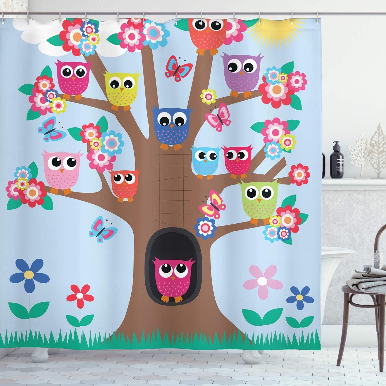Ambesonne Owl Shower Curtain, Cartoon Birds and Butterflies on a Tree Nursery Style Composition Kids Illustration, Cloth Fabric Bathroom Decor Set with Hooks, 70