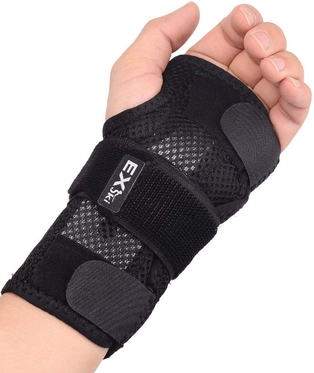 EXski Wrist Brace for Carpal Tunnel, Night Sleep Wrist Support Brace With Removable Metal Splints Left Hand Large