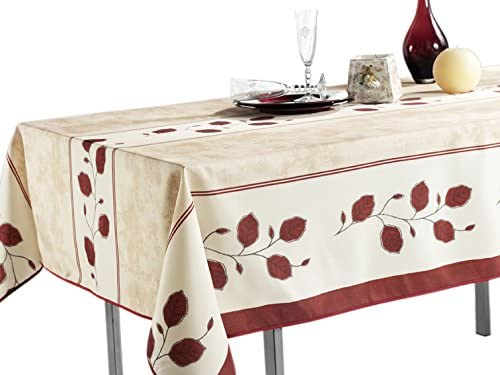 My Jolie Home 60 x 95-Inch Rectangular Tablecloth Beige with Rustic Red Leaf, Stain Resistant, Washable, Waterproof, Seats 8 to 10 People (Other