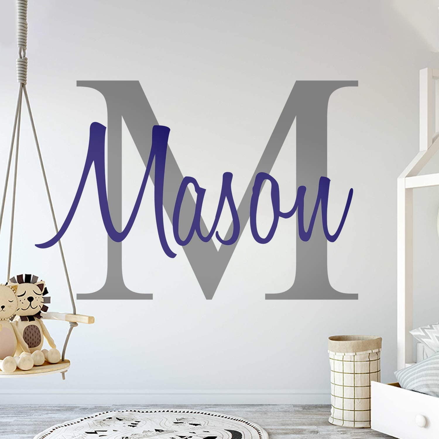 Custom Name & Initial - Premium Series - Baby Boy - Wall Decal Nursery for Home Bedroom Children (M511) (Wide 22