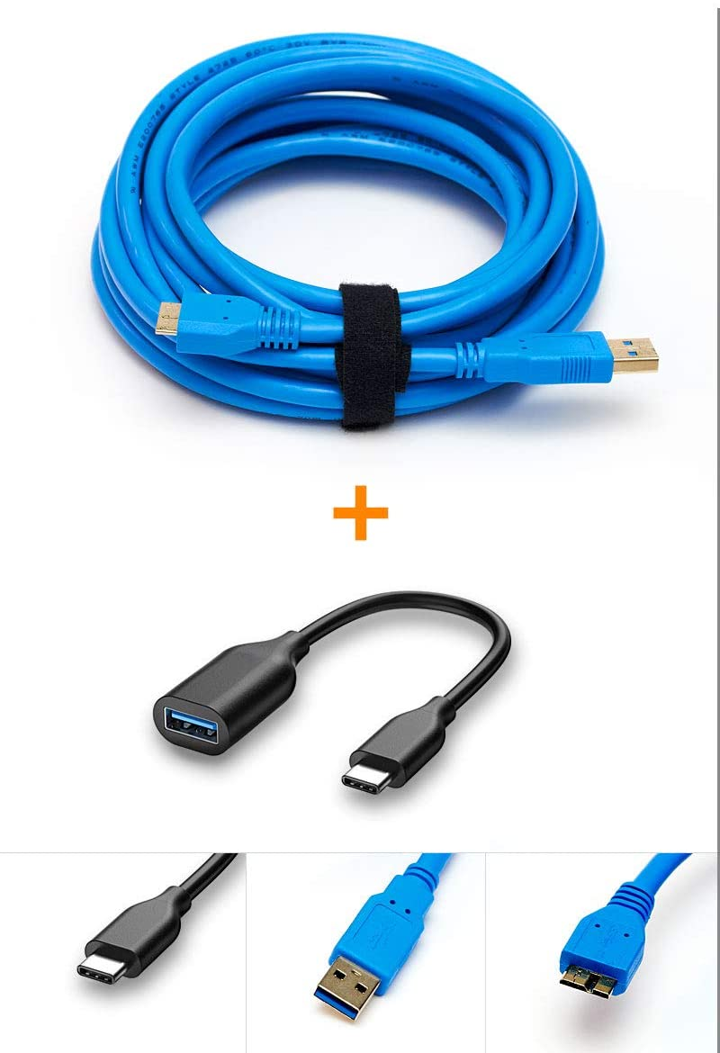 USB-C to USB 3.0 Micro B Tether Cable Blue 15ft 15' Tether Tethered Photography Tools Cable for Nikon D850 D800 D800E D810 D500 D5 & Canon 5Ds 5Ds R 1Dx MK II 7D Mark II 5D Mark IV