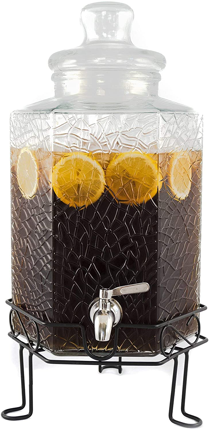 2.5 Gallon Glass Beverage Dispenser Stainless Spigot and Stand