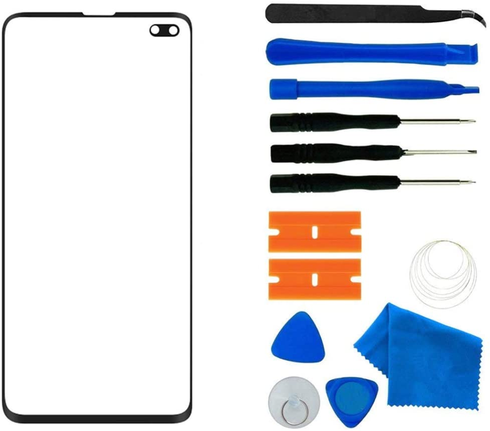 Original Galaxy S10+ Screen Replacement, Front Outer Lens Glass Screen Replacement Repair Kit for Samsung Galaxy S10 Plus G9750 Series (Galaxy S10+ 6.4'- Black)