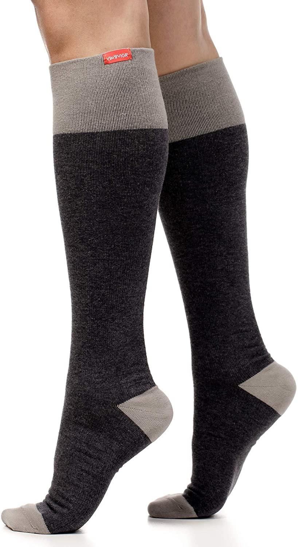 VIM & VIGR Cotton 15-20 mmHg Compression Socks for Women & Men (Heathered Grey & Dark Gray, Small/Medium)