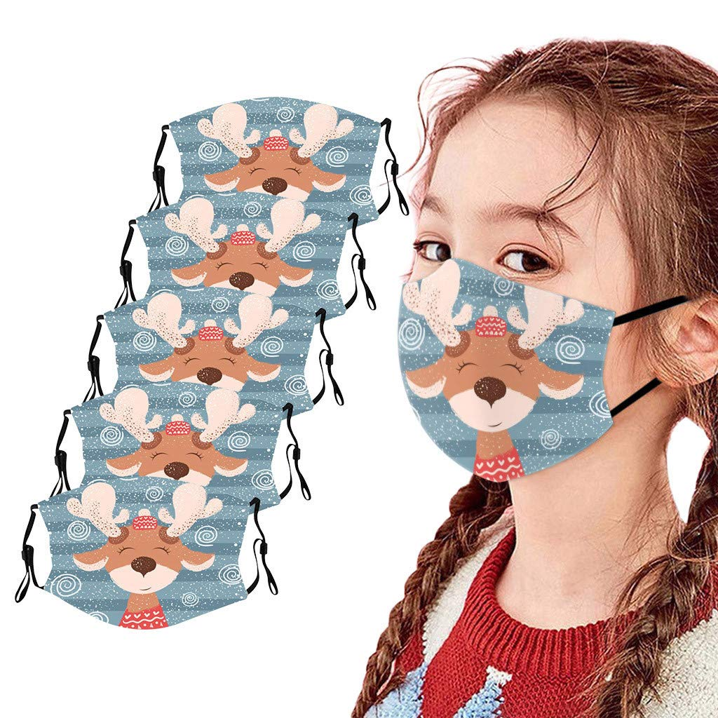 Walsent 5PCS Christmas Kids Adjustable Tie-dye Butterfly Print Face Bandanas Washable and Reusable Mouth Face Bandanas Protective For Children