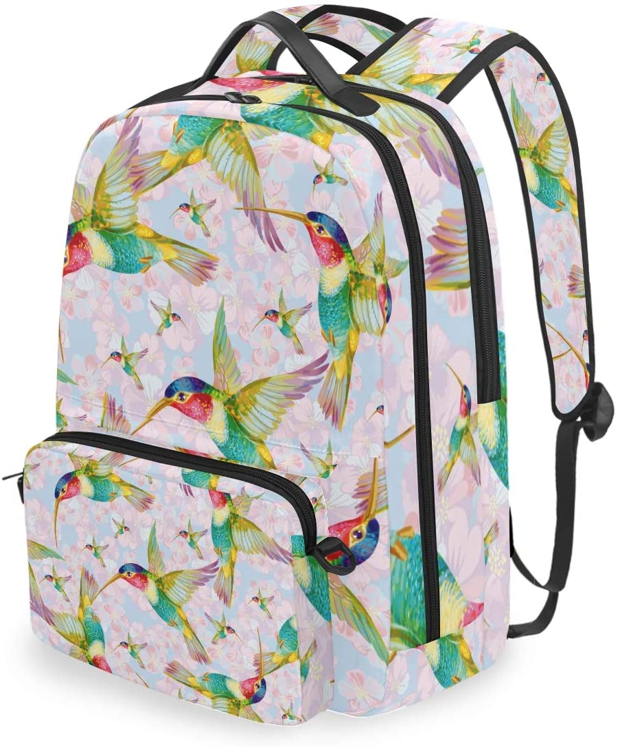 MAHU Backpack Hummingbird Animal Pattern Detachable College Bag Travel Zipper Bookbag Hiking Shoulder Crossbody Bag Daypack for Women Men