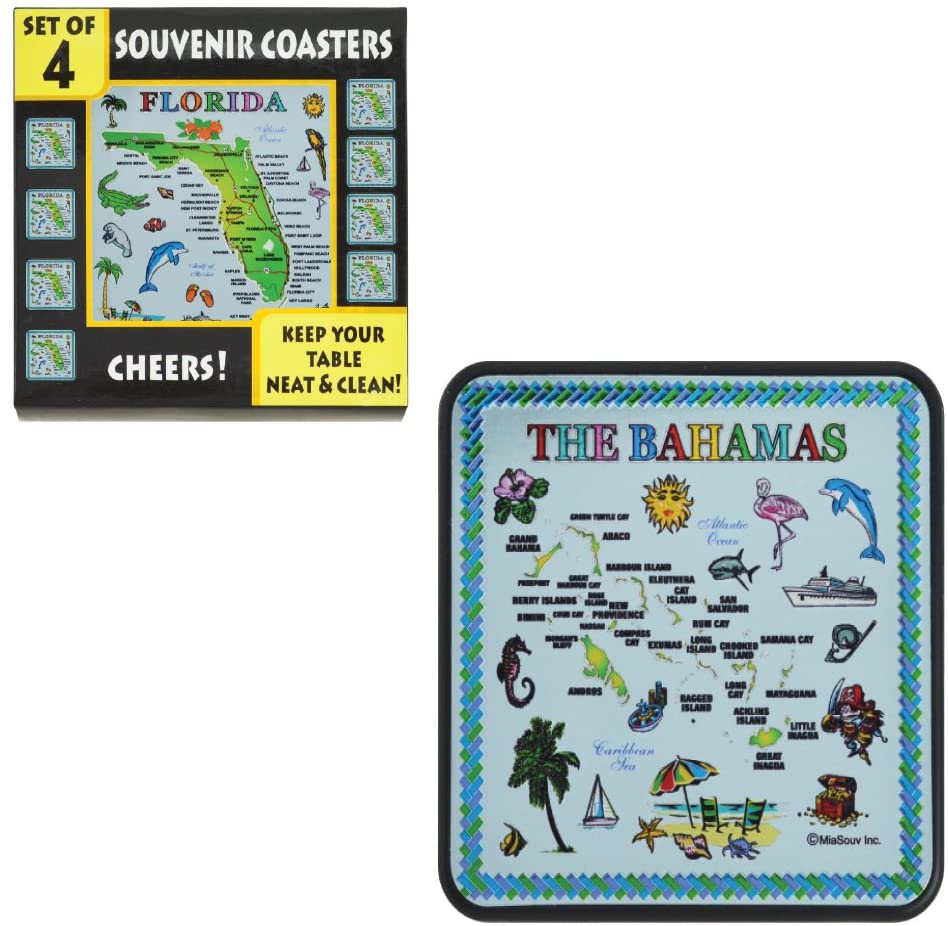Rockin Gear Coasters for Drinks 4 Piece Set - Bahamas Souvenir Blue Map Drinking Coasters - Keep Your Table Neat and Clean (Pack of 4) (The Bahamas)