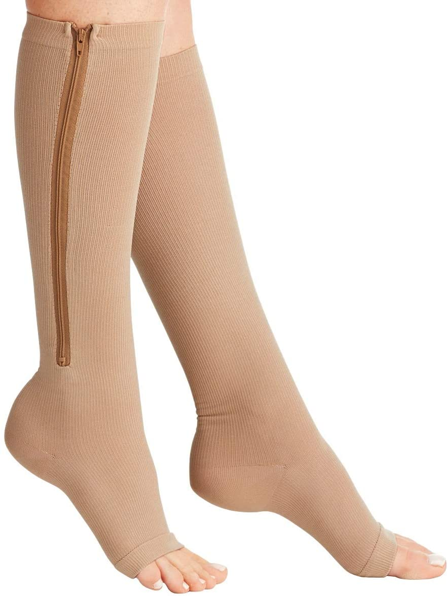 Bcurb Zippered Medical Compression Socks (2 Pair) Open Toe Support Zipper Stocking for Varicose Veins, Edema, Swollen or Sore Legs Helps Foot Feet Knee Ankle Arch (Beige, (Calf=9