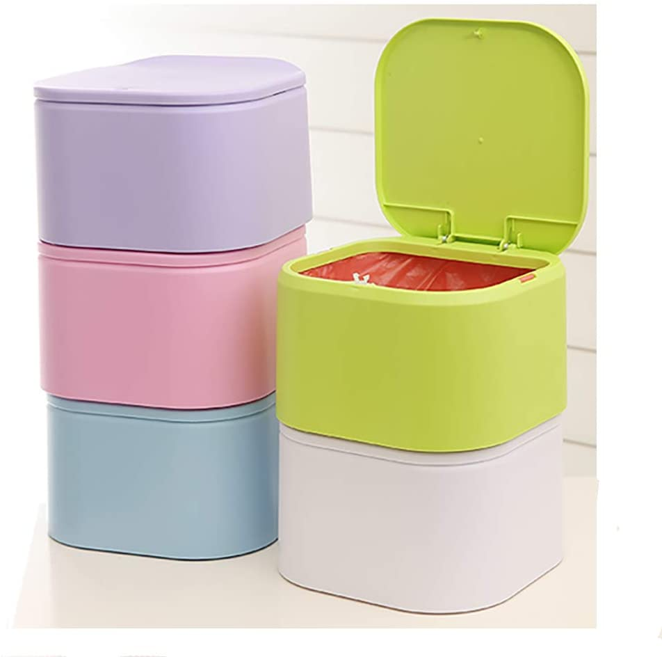 LI-GELISI Press Type Desktop Trash Can Mini Mini Trash Cans Household Living Room Bedroom Cute Table Trash Can (White)