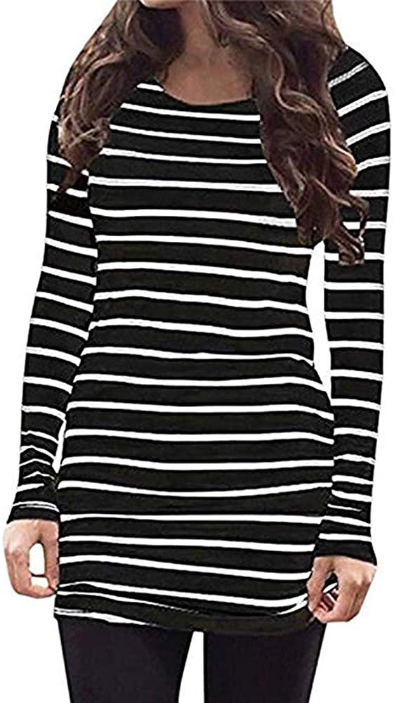 Sherosa Womens Basic Casual Long Sleeve Slim Fit T Shirt Dress Tunic Top