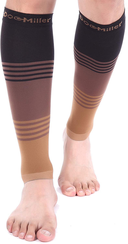 Doc Miller Premium Calf Compression Sleeve Dress Series 1 Pair 20-30mmHg Strong Calf Support Cute Toeless Socks Sports Running Recovery Shin Splints Varicose Veins (BlackBrownTan, 3X-Large)