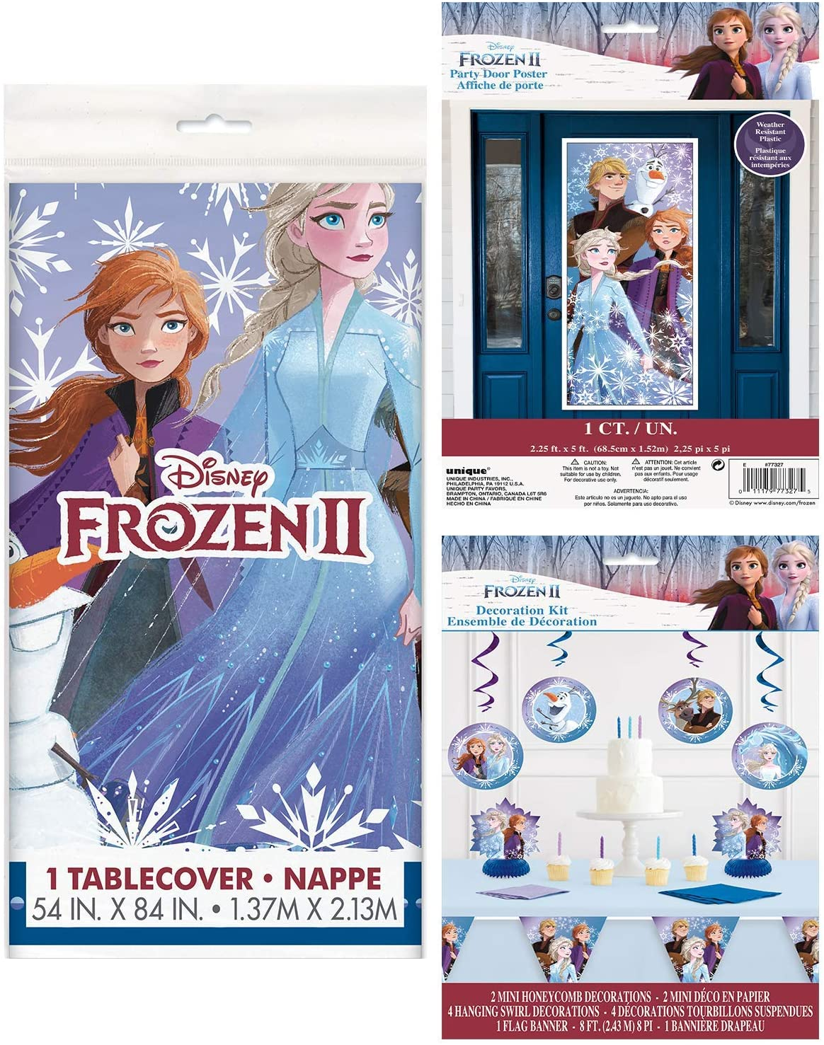 BashBox Disney Frozen Birthday Party Supplies Decorations Pack Including Tablecover, Door Poster and 7pc Decoration Kit