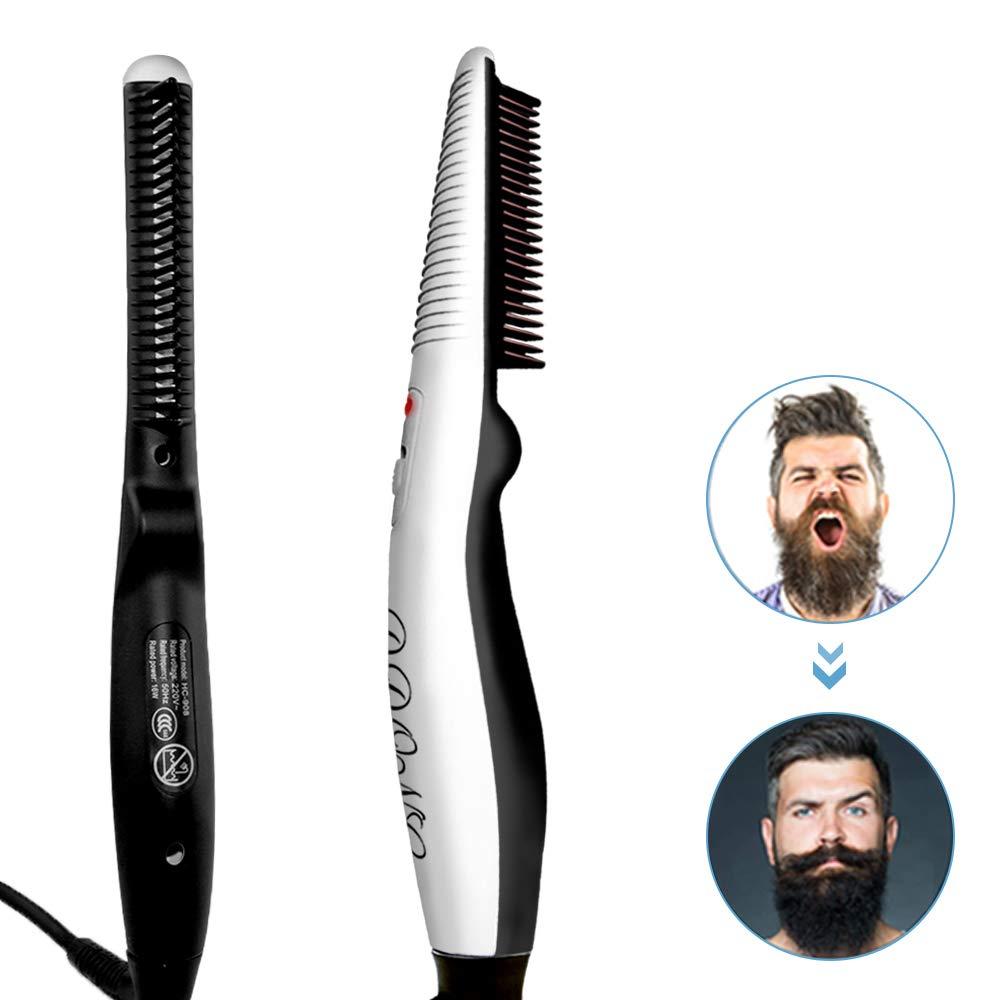 Beard Straightener Comb,Hot Comb,Quick Electric Heated Beard Brush Beard Styler for Men, Travel Portable Styling Comb beard iron, Multifunctional Hair Straightening Brush