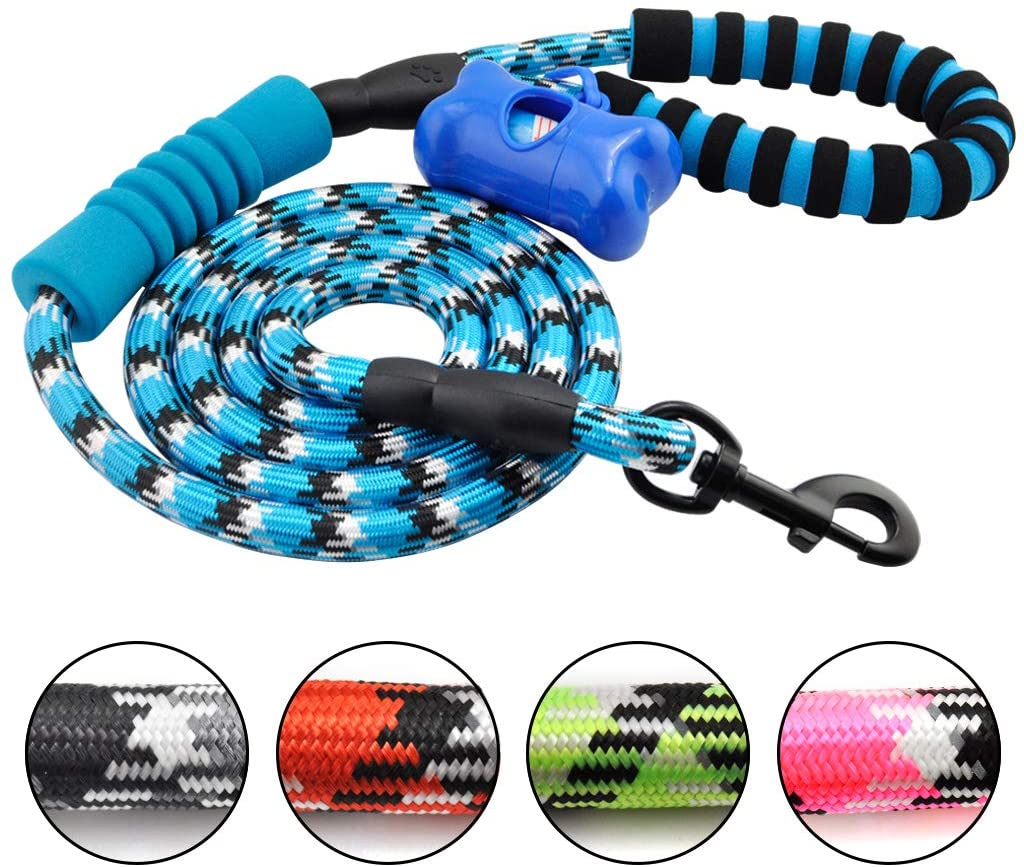 Powboro Round Dog Leash with Poop Bag Durable Against Constant Chewing for Training Medium and Large Dogs 6 Feet