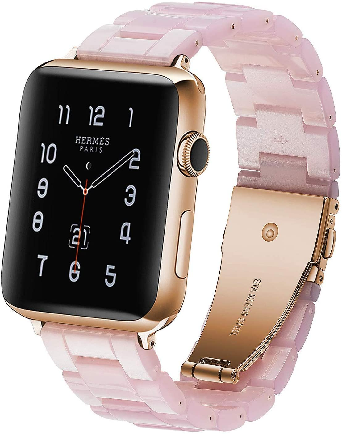 Resin Strap Compatible with Apple Watch Band 42mm 44mm Series 5/4/3/2/1 Women Men with Stainless Steel Buckle, Apple iWatch Replacement Wristband Bracelet (Pink, 42mm/44mm)