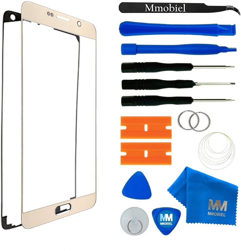 MMOBIEL Front Glass Replacement Compatible withSamsung Galaxy Note 5 N920 (Gold) Display Touchscreen incl Tool Kit