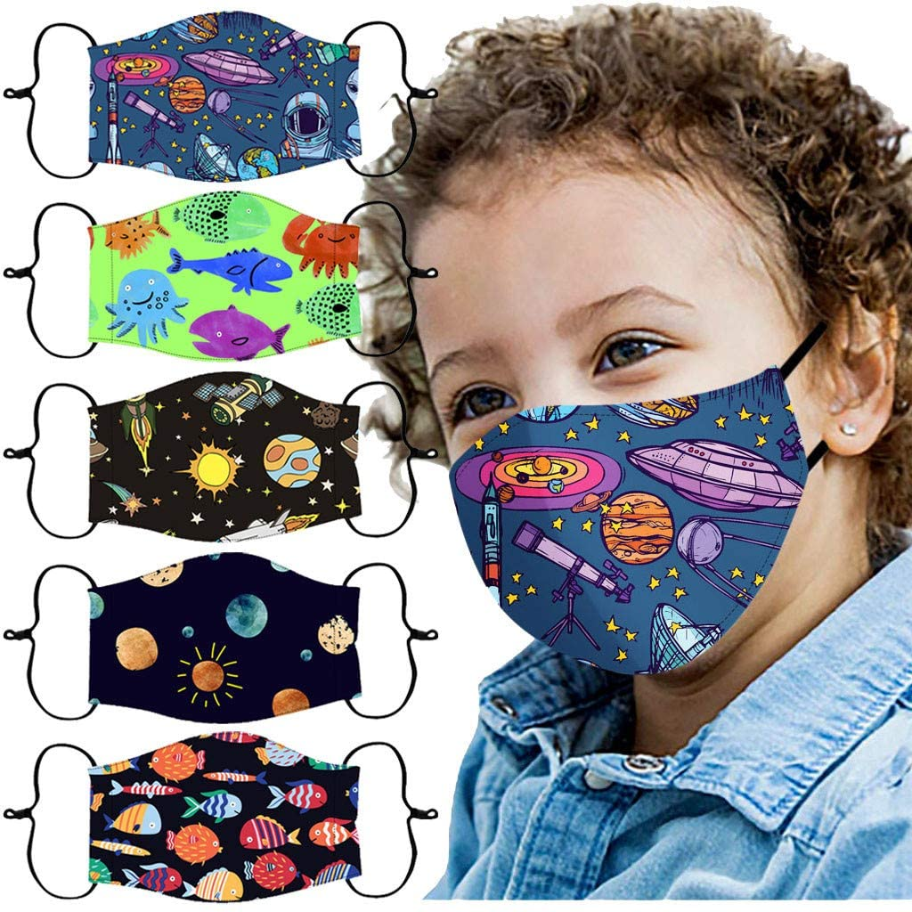 Gogoty 5pcs Kids Multi Printing Pattern Reusable Face Scarf Bandanas Breathable Seamless Cotton Children Outdoor Back to School