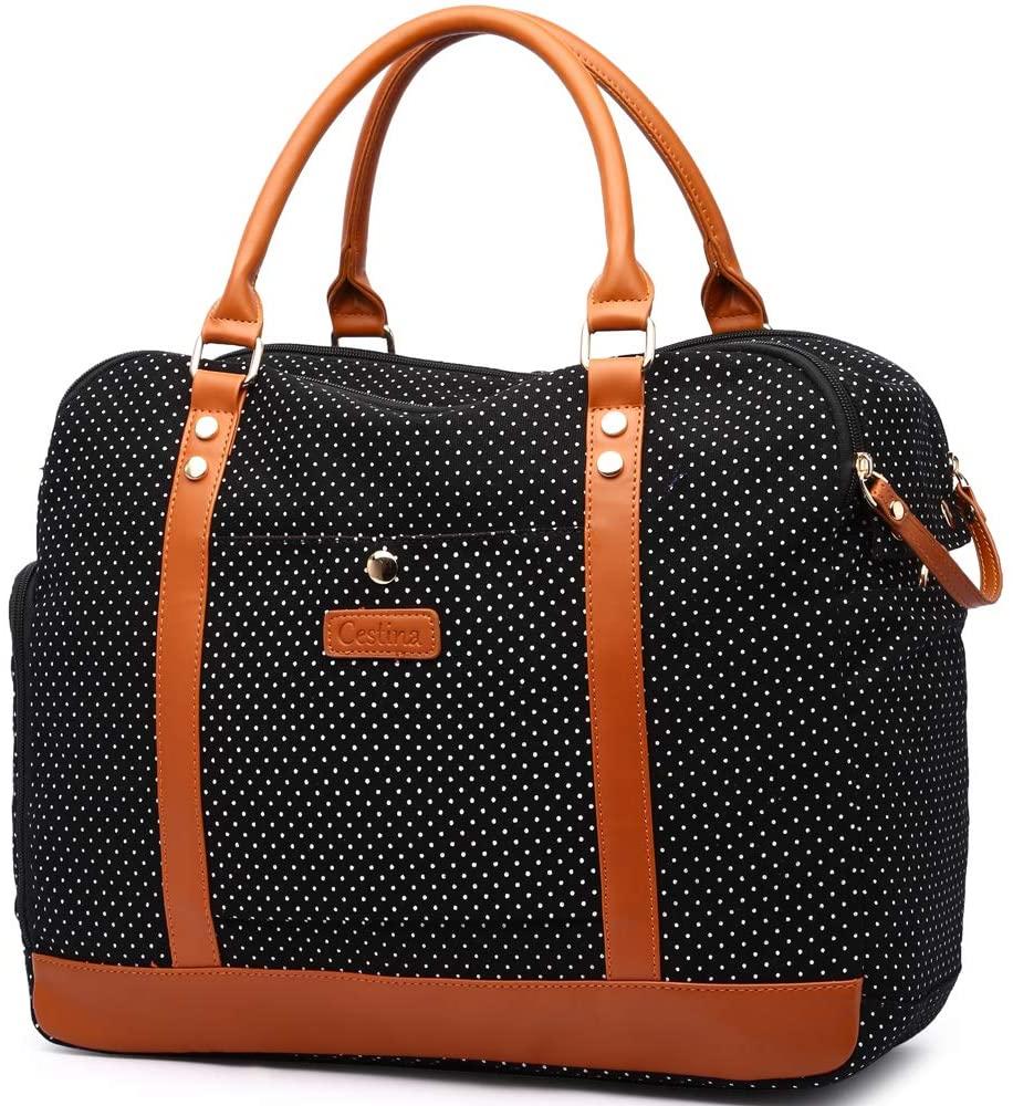 Cute Lady Women Canvas Travel Bag Weekender Overnight Bag Carry-on Duffel Tote Bag (black dot)