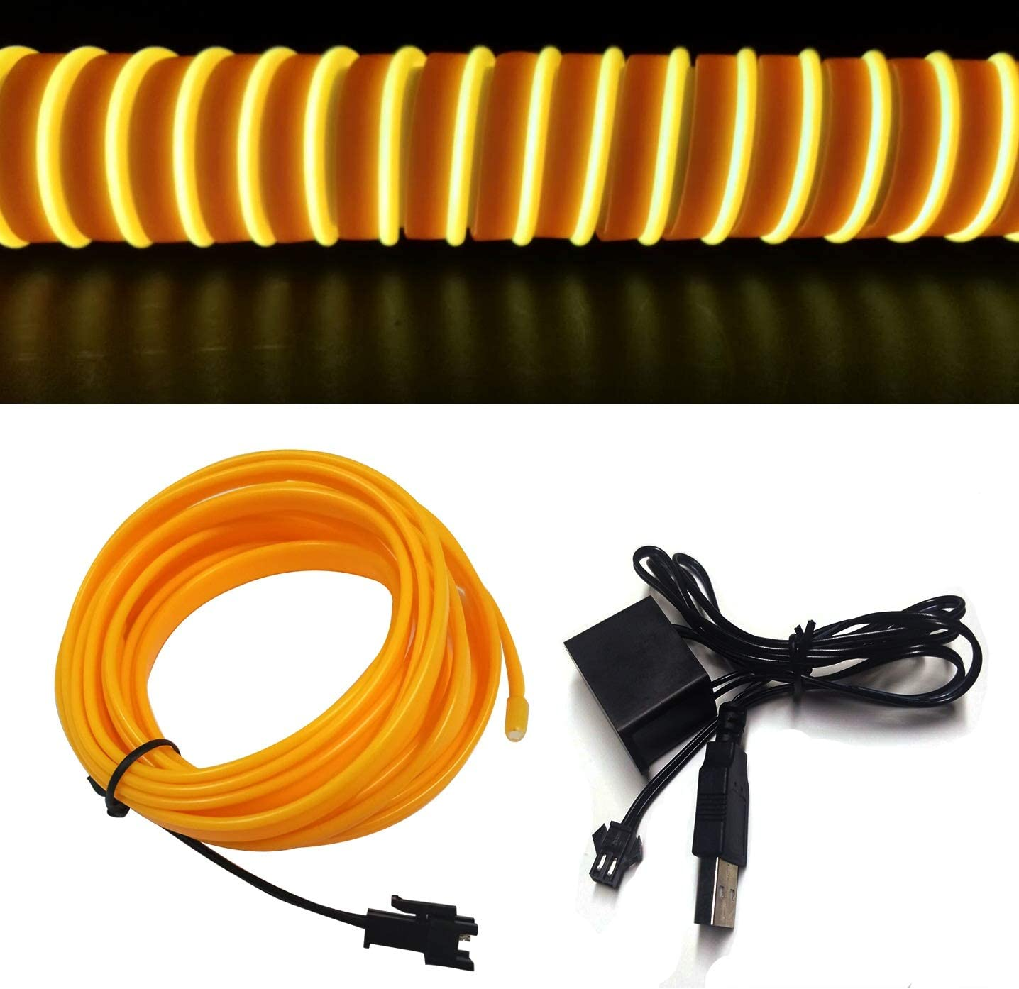 M.best Neon Light El Wire for Automotive Car Interior Decoration with 6mm Sewing Edge (5M/15FT, Yellow)