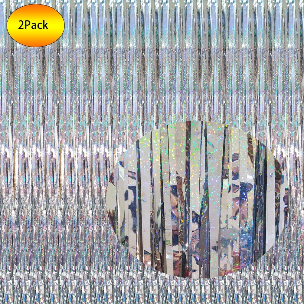 2 Packs 3.2ft x 8.3ft Shimmer Holographic Iridescent Silver Metallic Tinsel Curtain Shiny Silver Foil Fringe Curtain Photo Backdrop for Silver Birthday Party Baby Shower Halloween New Year Eve Graduation Party Wedding Bridal Shower Bachelorette Party Door Windows Wall Decoration