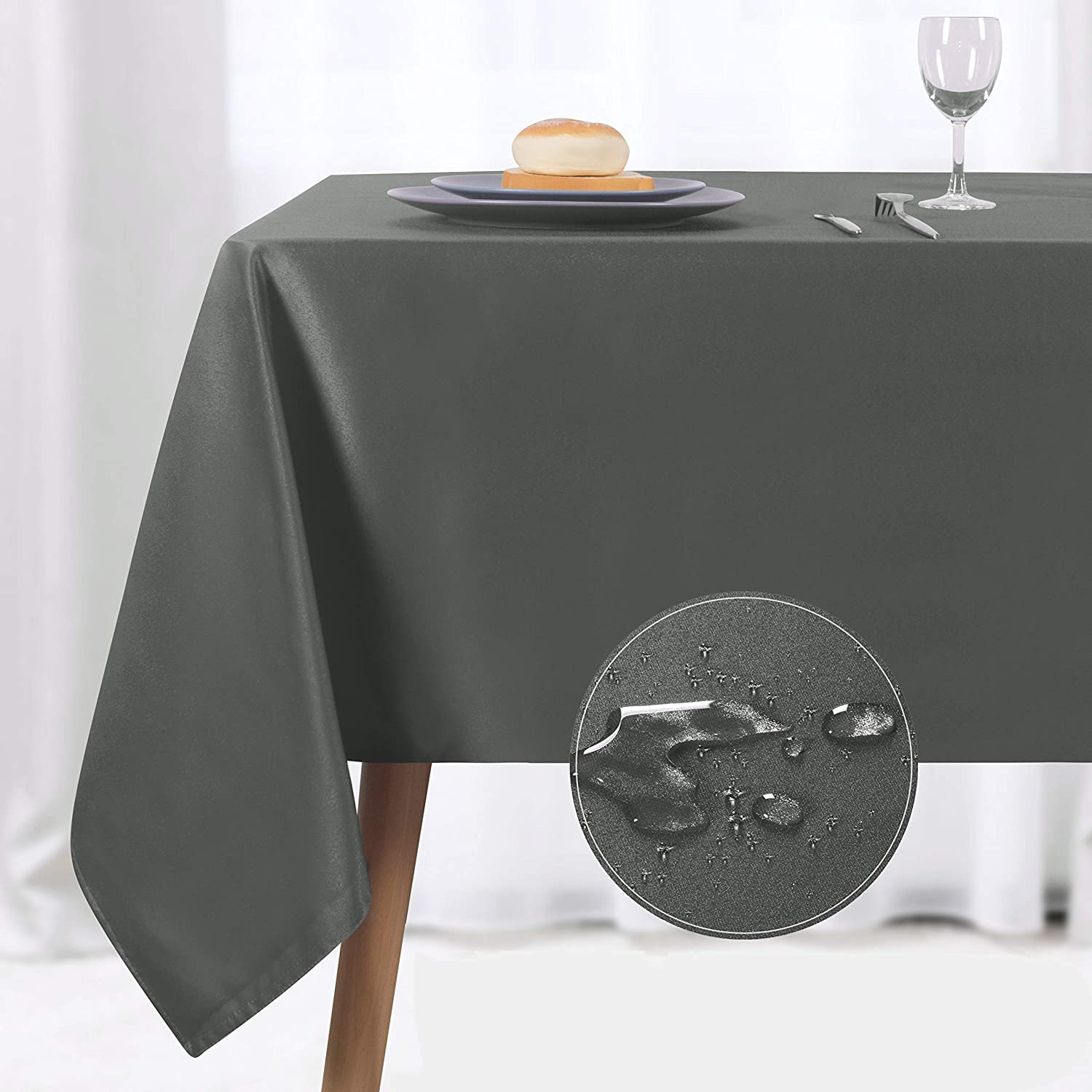 NLMUVW Rectangle Table Cloth, Waterproof Oblong Tablecloth, Microfiber Fabric 210 GSM Table Cover for Party Picnic Outdoor and Indoor Use (60 x 140 Inch, Grey)