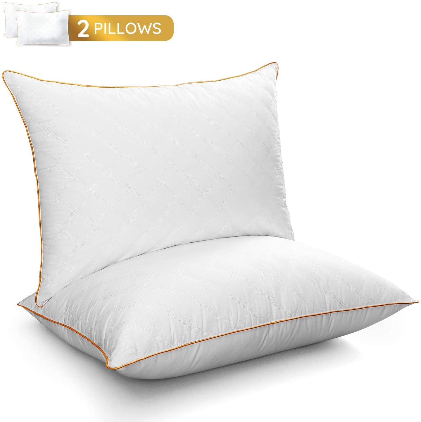 LUTE Standard Pillow Set of 2, Bed Pillows Down Alternative Hypoallergenic Cooling Sleeping Pillow, Soft Premium Plush Fiber Fill for Side Back Stomach Sleepers, 20x26 inches